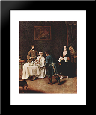 A Visit To A Lord: Modern Black Framed Art Print by Pietro Longhi