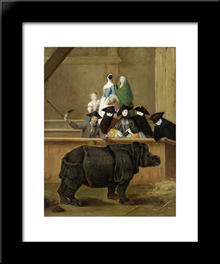 Clara The Rhinoceros: Modern Black Framed Art Print by Pietro Longhi