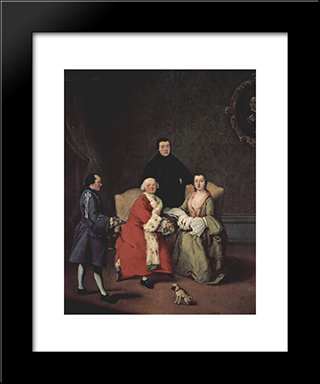 Conversation In The Family: Modern Black Framed Art Print by Pietro Longhi