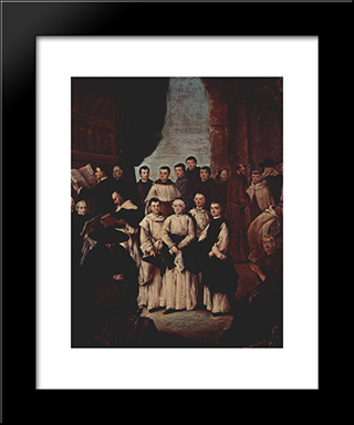Friars In Venice: Modern Black Framed Art Print by Pietro Longhi