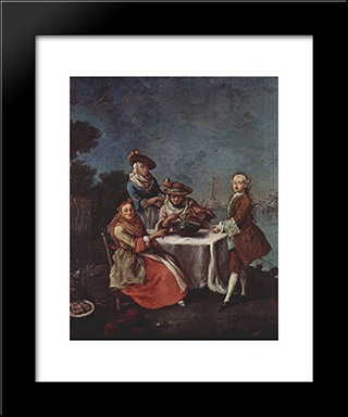 In The Vegetable Garden At The River Mouth: Modern Black Framed Art Print by Pietro Longhi