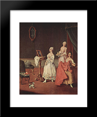 Lady At Her Toilette: Modern Black Framed Art Print by Pietro Longhi