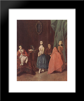 Lady At The Dressmaker: Modern Black Framed Art Print by Pietro Longhi