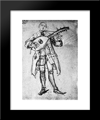 Lute Player: Modern Black Framed Art Print by Pietro Longhi