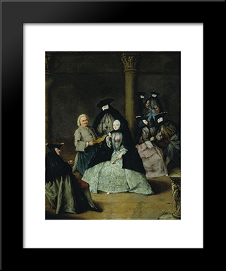 Masked Party In A Courtyard: Modern Black Framed Art Print by Pietro Longhi