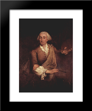 Portrait Of Francesco Guardi: Modern Black Framed Art Print by Pietro Longhi