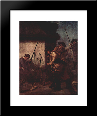 Preparing The Guns: Modern Black Framed Art Print by Pietro Longhi