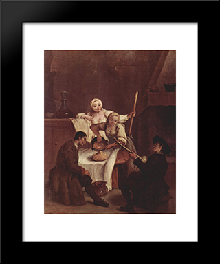 Preparing The Polenta: Modern Black Framed Art Print by Pietro Longhi