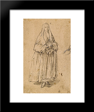 Standing Woman Holding A Muff Facing Right: Modern Black Framed Art Print by Pietro Longhi