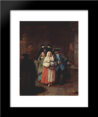 The `New World': Modern Black Framed Art Print by Pietro Longhi