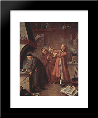 The Alchemists: Modern Black Framed Art Print by Pietro Longhi