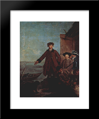 The Awakening For Hunting: Modern Black Framed Art Print by Pietro Longhi