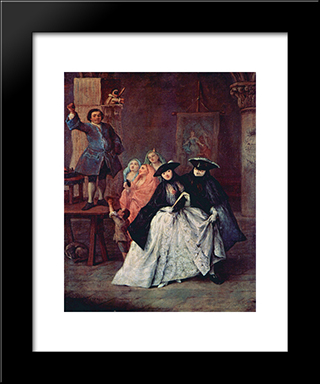 The Charlatan: Modern Black Framed Art Print by Pietro Longhi