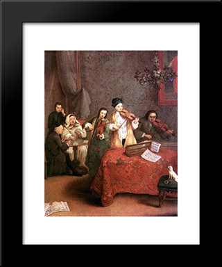 The Concert: Modern Black Framed Art Print by Pietro Longhi