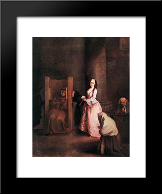 The Confession: Modern Black Framed Art Print by Pietro Longhi
