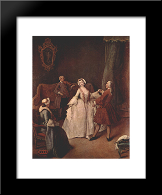 The Dancing Lesson: Modern Black Framed Art Print by Pietro Longhi