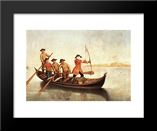 The Duck Hunt: Modern Black Framed Art Print by Pietro Longhi