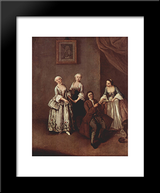 The Family: Modern Black Framed Art Print by Pietro Longhi