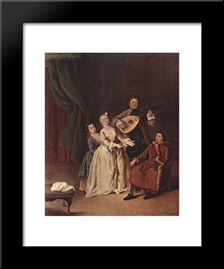 The Family Concert: Modern Black Framed Art Print by Pietro Longhi