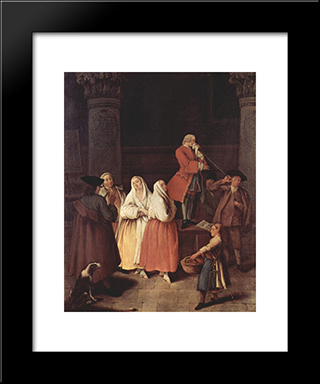 The Fortune Teller: Modern Black Framed Art Print by Pietro Longhi