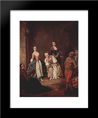 The Furlana (Venetian Dance): Modern Black Framed Art Print by Pietro Longhi