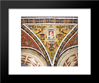 Ceiling Decoration (Detail): Modern Black Framed Art Print by Pinturicchio