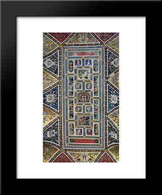 Ceiling Of The Piccolomini Library In Siena Cathedral: Modern Black Framed Art Print by Pinturicchio