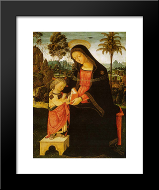 Madonna With Writing Child: Modern Black Framed Art Print by Pinturicchio