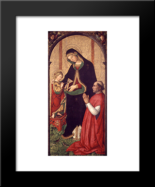 Madonna With Writing Child And Bishop: Modern Black Framed Art Print by Pinturicchio
