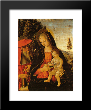 Madonna With Writing Child And St. Jerome: Modern Black Framed Art Print by Pinturicchio