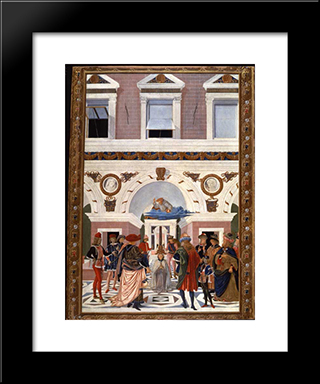 Painting Cycle For The Miracles Of St. Bernard, Scene Healing The Blind And Deaf Riccardo Micuzio Dall 'Aquila: Modern Black Framed Art Print by Pinturicchio