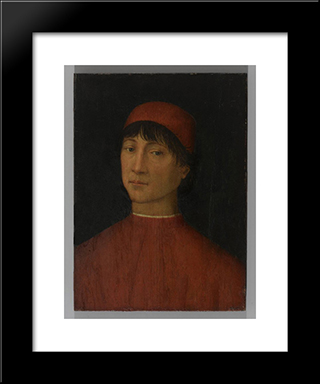 Portrait Of A Young Man: Modern Black Framed Art Print by Pinturicchio