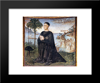 Portrait Of The Donor: Modern Black Framed Art Print by Pinturicchio