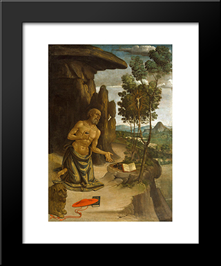 Saint Jerome In The Wilderness: Modern Black Framed Art Print by Pinturicchio