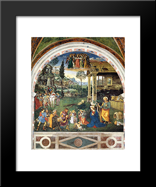 The Adoration Of The Shepherds: Modern Black Framed Art Print by Pinturicchio