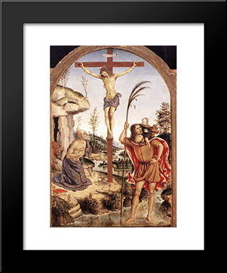 The Crucifixion With Sts. Jerome And Christopher: Modern Black Framed Art Print by Pinturicchio