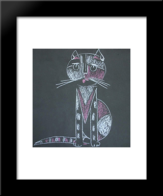 Cat: Modern Black Framed Art Print by Piroska Szanto