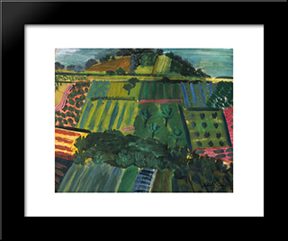 Hillside: Modern Black Framed Art Print by Piroska Szanto