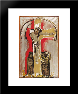 Hungarian Christ: Modern Black Framed Art Print by Piroska Szanto