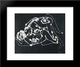 Lovers: Modern Black Framed Art Print by Piroska Szanto