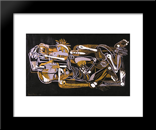 Lovers (Bone Music): Modern Black Framed Art Print by Piroska Szanto