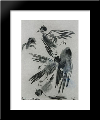 Mavis: Modern Black Framed Art Print by Piroska Szanto