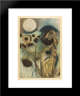 Pink Moon Ii: Modern Black Framed Art Print by Piroska Szanto