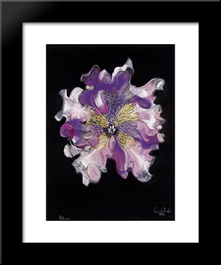 Purple Flower: Modern Black Framed Art Print by Piroska Szanto