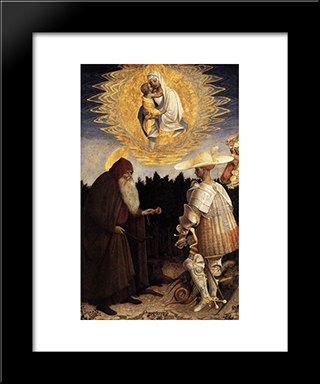 Apparition Of The Virgin To Sts Anthony Abbot And George: Modern Black Framed Art Print by Pisanello