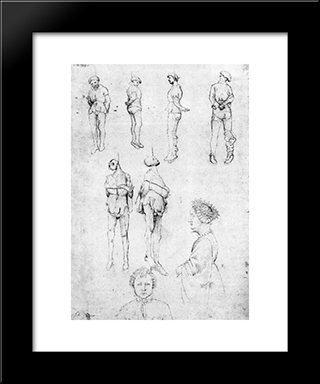Hanged Men And Two Portraits: Modern Black Framed Art Print by Pisanello