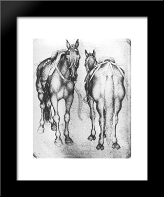 Horses: Modern Black Framed Art Print by Pisanello