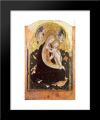 Madonna And Quail: Modern Black Framed Art Print by Pisanello