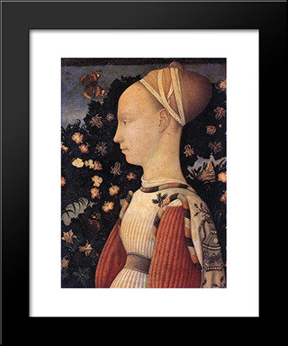 Portrait Of A Princess Of The House Of Este: Modern Black Framed Art Print by Pisanello