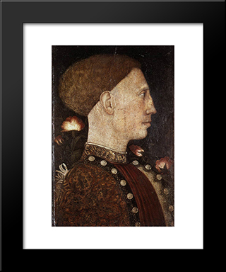 Portrait Of Leonillo D'Este: Modern Black Framed Art Print by Pisanello